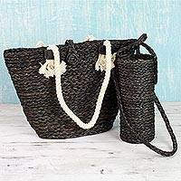 Natural fibers tote bag and bottle holder set, 'Heat Wave' - Black Tote and Bottle Holder Set Hand Woven Natural Fibers