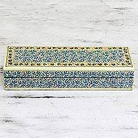 Decorative wood box, 'Chinar Charm' - Oil Painted Willow Jewelry Box With Chinar Leaf Motifs