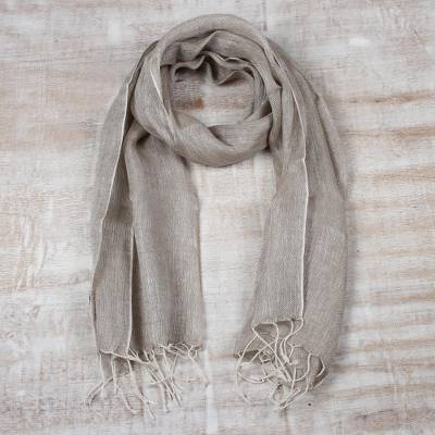 Linen scarf, 'Tan Patterns' - Hand Woven Unisex Fringed Linen Scarf in Tan from India
