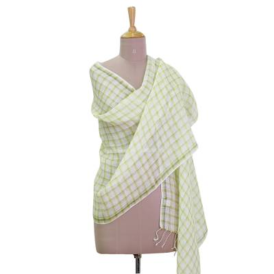 Linen shawl, 'Chartreuse Windowpane' - Hand Woven Linen Shawl in Chartreuse Snow White from India