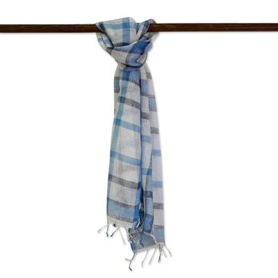 Men's linen scarf, 'Dapper in Blue' - Hand Woven Linen Unisex Scarf Ivory Cerulean Midnight India