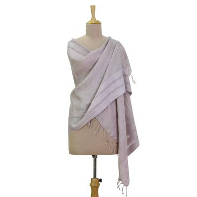 Linen blend shawl, 'Graceful Lilac' - Hand Woven Linen Blend Dusty Lilac Shawl from India