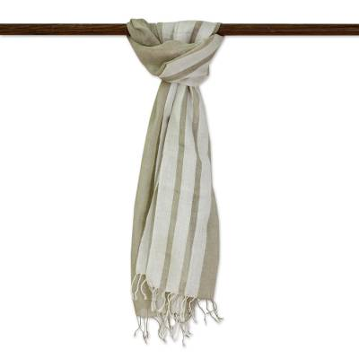 Men's linen blend scarf, 'Sleek Stripes in Khaki' - Hand Woven Linen Blend Unisex Scarf Khaki Eggshell India