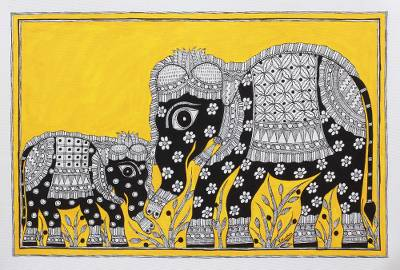 India Madhubani Folk Art Painting of Elephants in Yellow