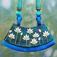 Cotton and ceramic flower necklace, 'Niraj' - Hand Painted Lotuses on Ceramic and Cotton Indian Necklace