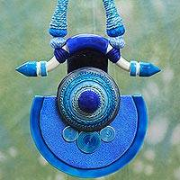 Cotton and ceramic pendant necklace, 'Sree Yantra Blue' - Ceramic Pendant Artisan Crafted Indian Cotton Blue Necklace
