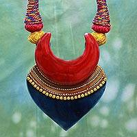 Cotton and ceramic pendant necklace, 'Bengali Belle' - Artisan Crafted Ceramic and Cotton Necklace Fair Trade