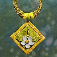 Cotton and ceramic pendant necklace, 'Frangipani Treasure' - Floral Statement Necklace Fair Trade Jewelry from India