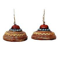 Ceramic dangle earrings, 'Sree Yantra' - Artisan Crafted Indian Ceramic Earrings on 925 Silver Hooks