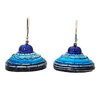 Ceramic dangle earrings, 'Sree Yantra Blue' - Blue Ceramic Earrings Artisan Crafted Indian Jewelry