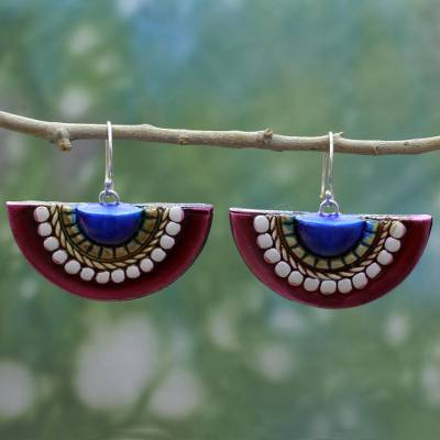 Ceramic dangle earrings, 'Eastern Suns' - Ceramic Earrings on 925 Hooks Artisan Crafted Indian Jewelry
