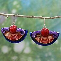 Ceramic dangle earrings, 'Sun Energy' - Hand Made Ceramic Dangle Earrings Red Orange from India