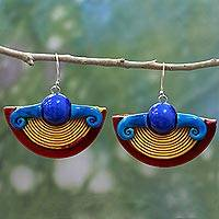 Ceramic dangle earrings, 'Sun at Dusk' - Hand Made Ceramic Dangle Earrings Blue Yellow from India