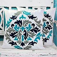 Cotton cushion covers, 'Fresh Leaves' (pair) - Embroidered Cotton Cushion Covers Made in India (Pair)