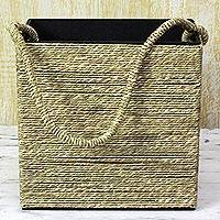 Reed grass magazine rack, 'Relaxing Time' - Hand Made Reed Grass Magazine Rack with Strap from India