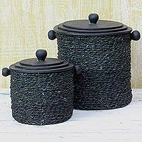 Woven reed decorative boxes, 'Treasured Beauty' (pair) - Black Decorative Reed and Wood Boxes (Pair) from India