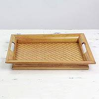 Bamboo tray, 'Woven Bamboo Beauty' - Hand Made Bamboo and Wood Tray Brown from India