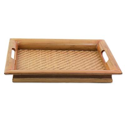 Hand Made Bamboo and Wood Tray Brown from India