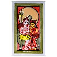 Patachitra painting, 'Mighty Shiva and Durga' - Shiva Hindu Art Signed Patachitra Painting with Natural Dyes