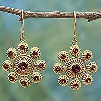 Gold plated garnet dangle earrings,