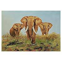 'Elephant Family' - Elephant Family Realism Art Signed Painting from India