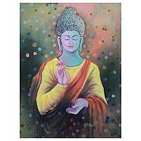 'Peaceful Buddha III' - Peace and Love Buddha Signed Buddhism Painting from India