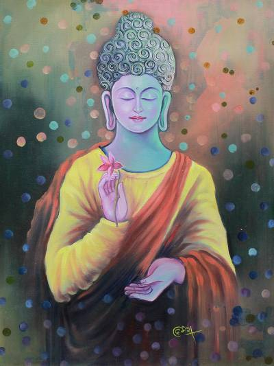 Peace and Love Buddha Signed Buddhism Painting from India