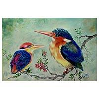 'Fluttering Kingfisher' - Signed Animal Themed Painting of Kingfisher Birds