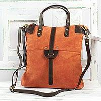Suede shoulder bag, 'Orange Brilliance' - Orange Suede Handbag with Brown Leather Straps From India
