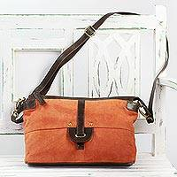 Suede shoulder bag, 'Orange Allure' - Orange Suede Shoulder Bag with Brown Leather Strap
