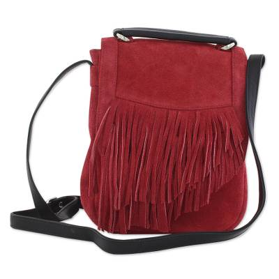 Adjustable Fringed Crimson Suede Shoulder Bag from India