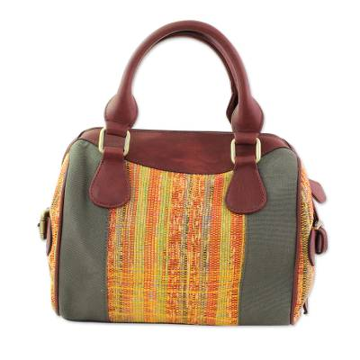 Leather Accent Cotton Handle Handbag from India