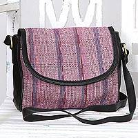Leather accented cotton messenger bag, 'Sunlight Raisin' - Leather Accented Cotton Messenger Bag in Raisin from India
