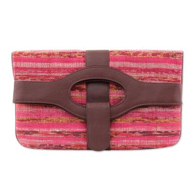 Leather Accent Cotton Convertible Clutch Handbag from India