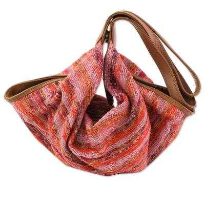 Cotton and Leather Accent Hobo Handbag from India