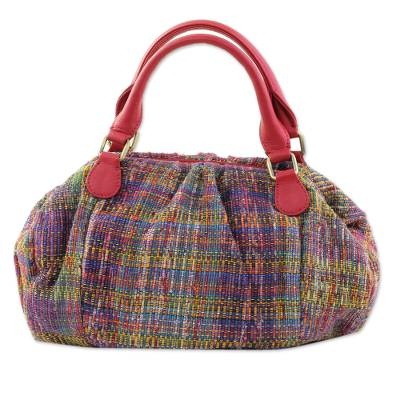 Artisan Crafted Cotton Handbag with Leather Accent