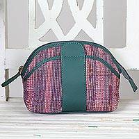 Cotton and leather accent cosmetic bag, 'Nature's Delight' - Hand Woven Cotton Cosmetic Bag with Leather Accent