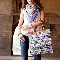 Leather accent recycled cotton tote handbag, 'Pompom Beauty' - Leather Accent Recycled Cotton Tote Handbag from India