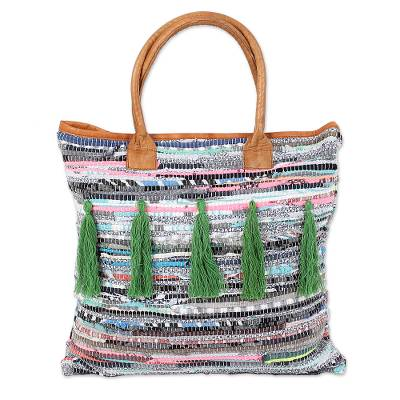 Leather Accent Recycled Cotton Tote Handbag from India
