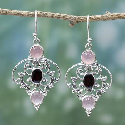 Garnet and chalcedony dangle earrings, 'Glistening Jaipur' - Sterling Silver Garnet Chalcedony Dangle Earrings from India