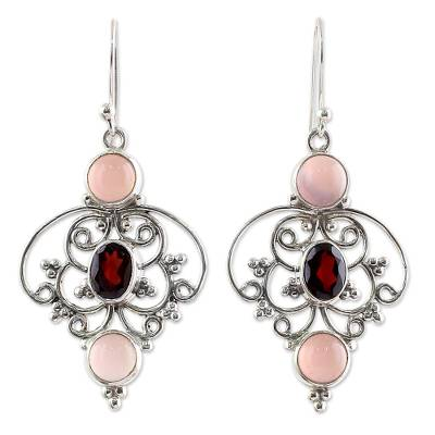 Sterling Silver Garnet Chalcedony Dangle Earrings from India