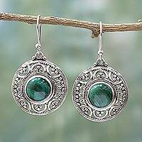 Malachite dangle earrings, 'Graceful Green' - Sterling Silver Malachite Dangle Earrings from India