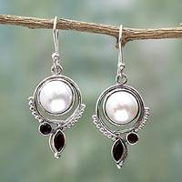 Cultured Pearl And Garnet Dangle Earrings Dazzling Morning (india)