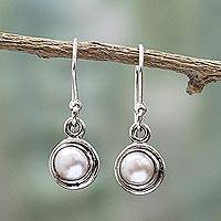 Cultured pearl dangle earrings, 'Purest Love' - Sterling Silver Cultured Pearl Dangle Earrings from India