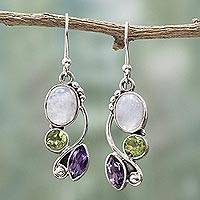 Featured review for Multi-gemstone dangle earrings, Natural Glamour