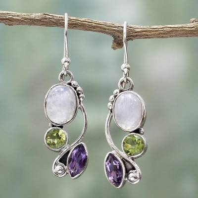 Multi-gemstone dangle earrings, 'Natural Glamour' - Multi-Gemstone Dangle Earrings Peridot Amethyst from India