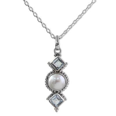 Cultured Pearl Blue Topaz Pendant Necklace from India