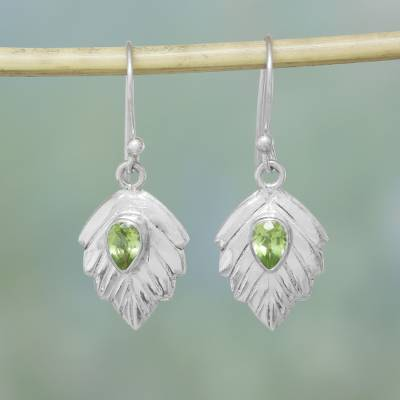 Peridot dangle earrings, 'Gleaming Leaves' - Peridot Sterling Silver Leaf Dangle Earrings from India
