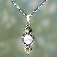 Cultured pearl and peridot pendant necklace, 'Green Rays' - Peridot Cultured Pearl Pendant Necklace from India
