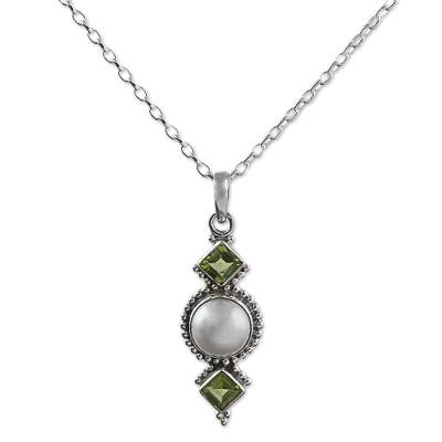 Peridot Cultured Pearl Pendant Necklace from India